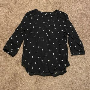 Maurices bow patterned black sheer blouse